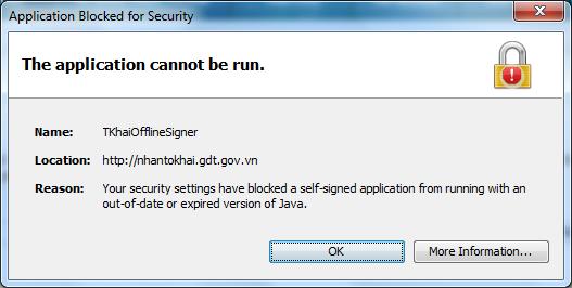 "Sửa lỗi ""Application Blocked Java"